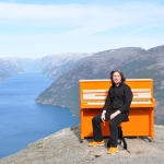 my shiny Orange piano on the Fjord
